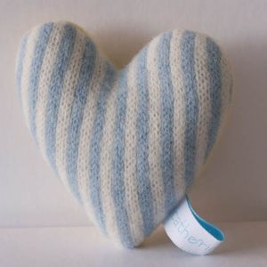 Turquoise and White Stripe Lavender Heart