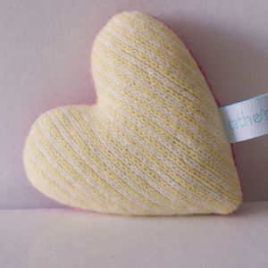 Daffodil and White Stripe Lavender Heart