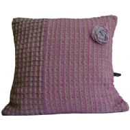 Pink, Pale Lime and Navy Cushion